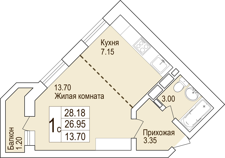 Купить квартиру студию в Краснодаре, 28 м², Южное Сияние