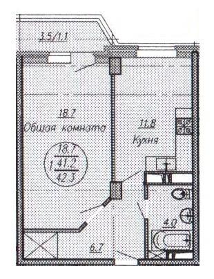 Купить однокомнатную квартиру в Краснодаре, 42,3 м², ЖК New Tower