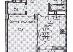 Купить однокомнатную квартиру в Краснодаре, 44,8 м², ЖК New Tower