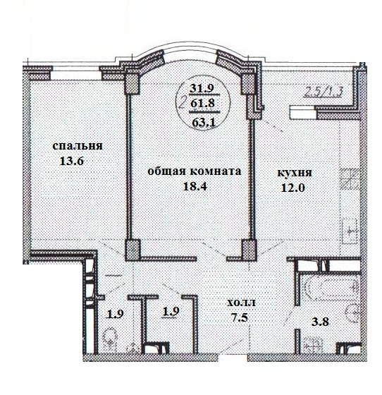 Купить двухкомнатную квартиру в Краснодаре, 65,2 м², ЖК New Tower