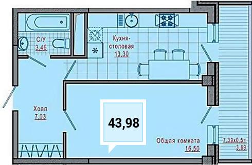 Купить однокомнатную квартиру в Краснодаре, 43,98 м², ЖК «Империал»