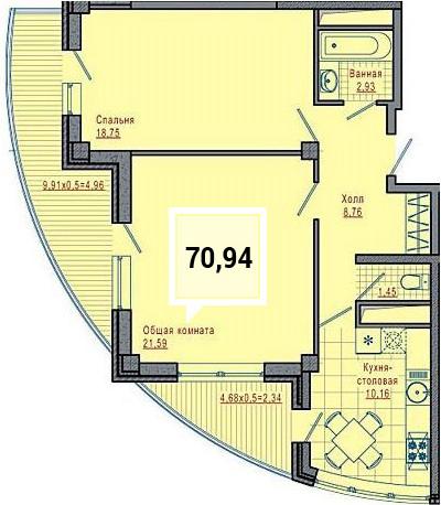 Купить двухкомнатную квартиру в Краснодаре, 70,94 м², ЖК «Империал»
