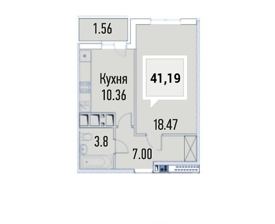 Купить однокомнатную квартиру в Краснодаре, 41,19 м², ЖК «Империал»