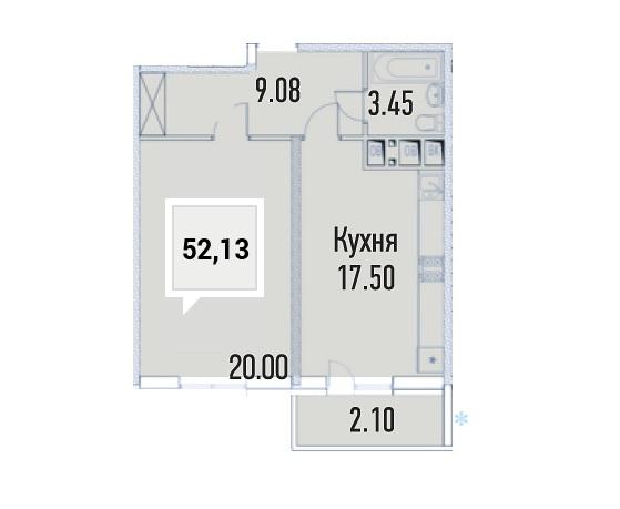 Купить однокомнатную квартиру в Краснодаре, 52,13 м², ЖК «Империал»