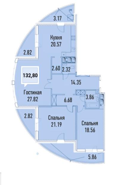Купить трехкомнатную квартиру в Краснодаре, 132,80 м², ЖК «Империал»