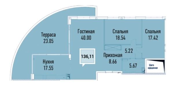 Купить пентхауз в Краснодаре, 136,11 м², ЖК «Империал»