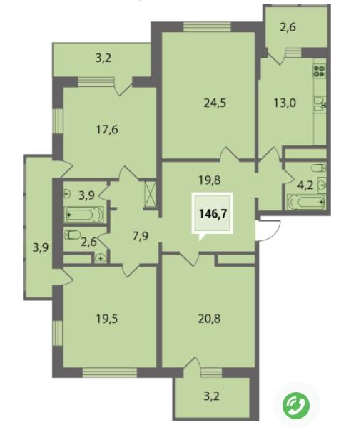 Купить четырехкомнатную квартиру в Краснодаре 146,7 м², ЖК «Тургенев»