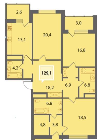 Купить трехкомнатную квартиру в Краснодаре 129,1 м², ЖК «Тургенев»