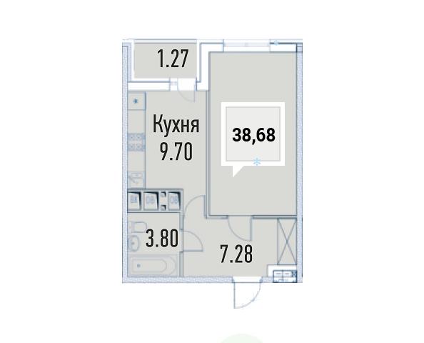 Купить однокомнатную квартиру в Краснодаре, 38,68 м², ЖК «Империал»