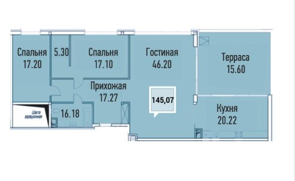Купить пентхауз в Краснодаре, 145,07 м², ЖК «Империал»