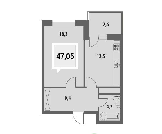 Купить однокомнатную квартиру в Краснодаре, 47 м², ЖК «Тургенев»