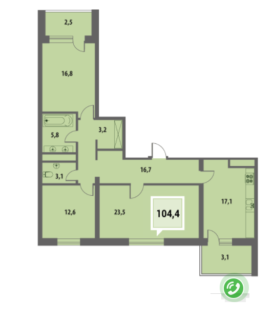 Купить трехкомнатную квартиру в Краснодаре 104,4 м², ЖК «Тургенев»