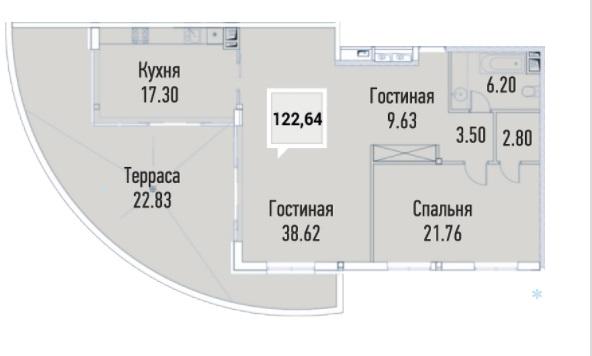 Купить пентхауз в Краснодаре, 122,64 м², ЖК «Империал»