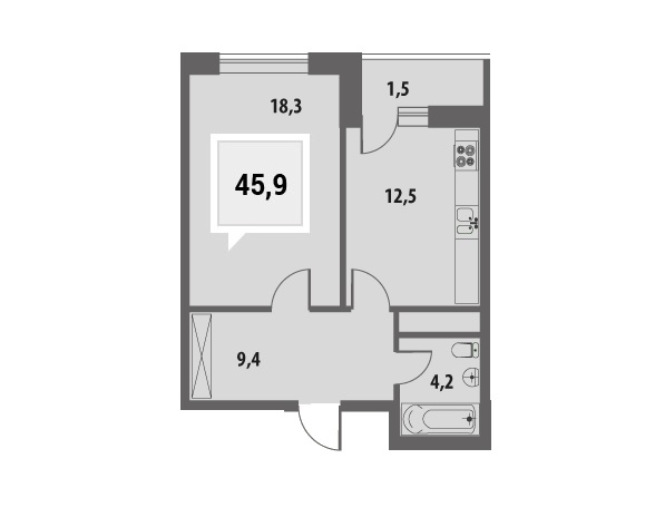 Купить однокомнатную квартиру в Краснодаре, 45,9 м², ЖК «Тургенев»