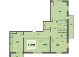 Купить трехкомнатную квартиру в Краснодаре 118,05 м², ЖК «Тургенев»
