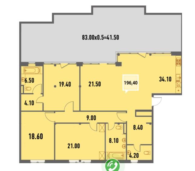 Купить Пентхауз в Краснодаре 196,4 м², ЖК «Тургенев»