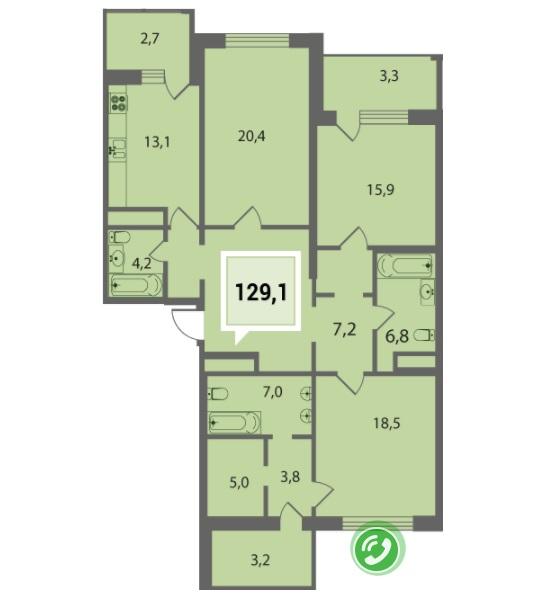 Купить четырехкомнатную квартиру в Краснодаре 129,1 м², ЖК «Тургенев»