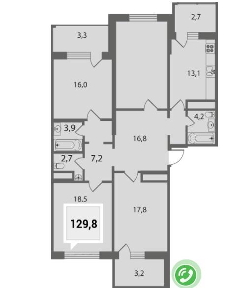 Купить четырехкомнатную квартиру в Краснодаре 129,8 м², ЖК «Тургенев»