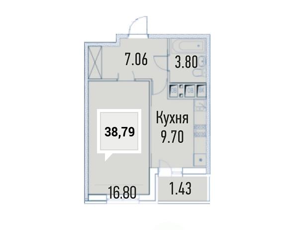 Купить однокомнатную квартиру в Краснодаре, 38,79 м², ЖК «Империал»