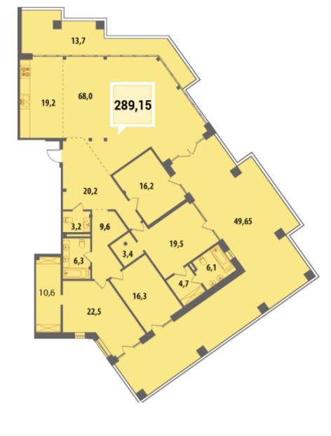 Купить Пентхауз в Краснодаре 289,15 м², ЖК «Тургенев»