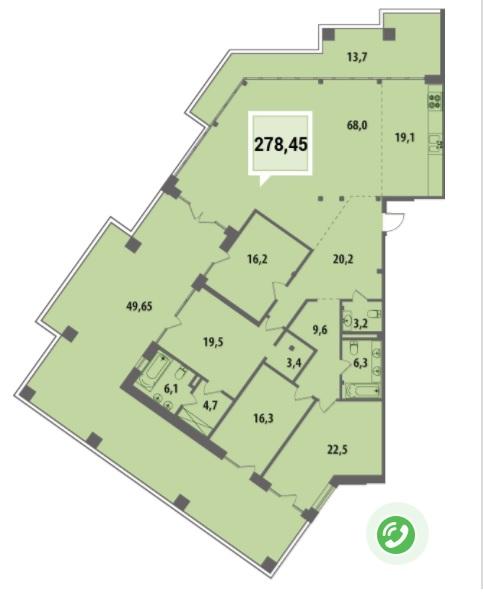 Купить Пентхауз в Краснодаре 278,45 м², ЖК «Тургенев»