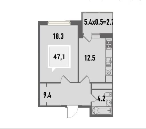 Купить однокомнатную квартиру в Краснодаре, 47,1 м², ЖК «Тургенев»
