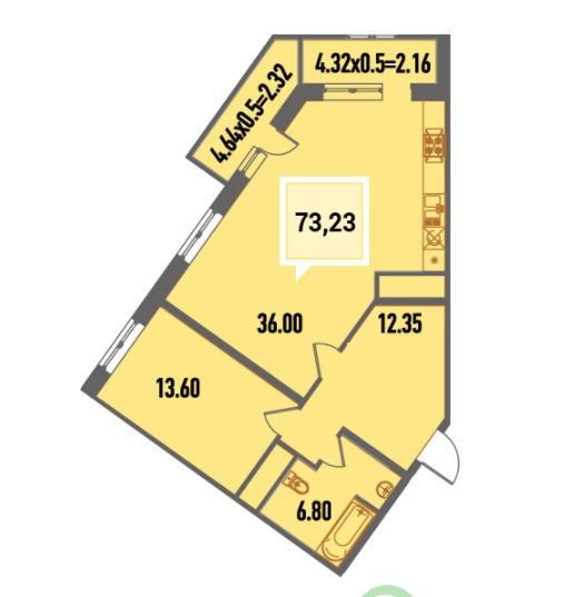 Купить двухкомнатную квартиру в Краснодаре, 73,23 м², ЖК «Тургенев»