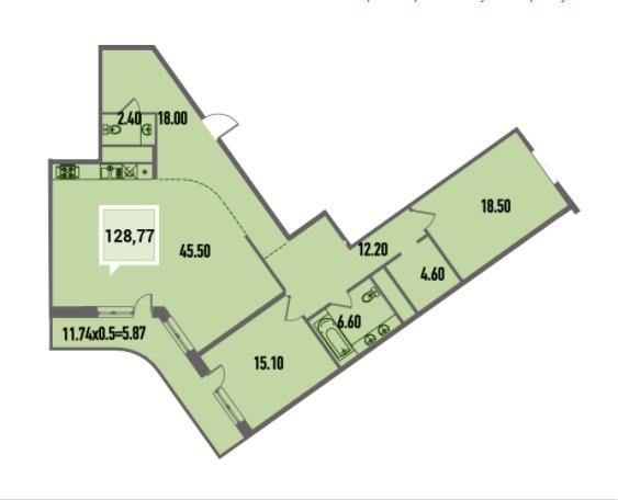 Купить двухкомнатную квартиру в Краснодаре, 128,77 м², ЖК «Тургенев»