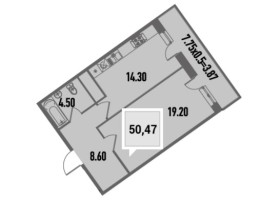 Купить однокомнатную квартиру в Краснодаре, 50,47 м², ЖК «Тургенев»