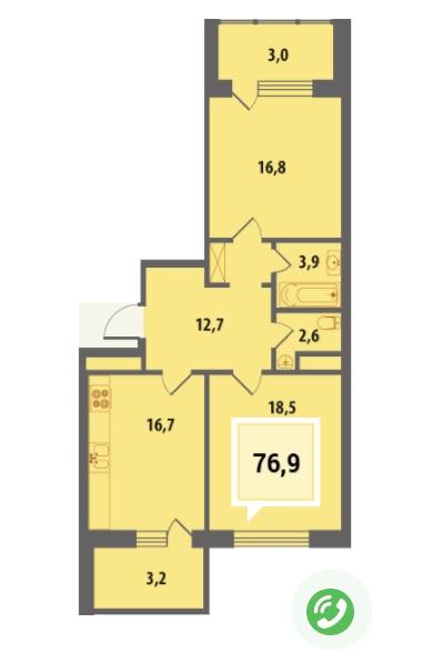 Купить двухкомнатную квартиру в Краснодаре, 76,9 м², ЖК «Тургенев»