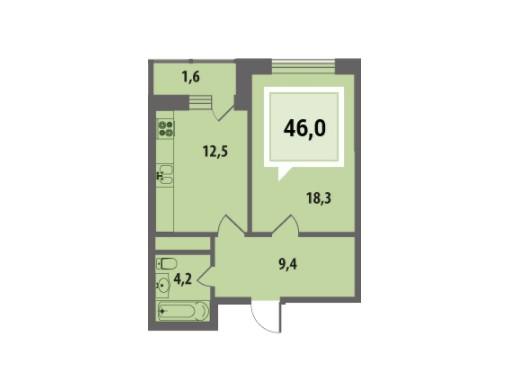 Купить однокомнатную квартиру в Краснодаре, 46 м², ЖК «Тургенев»