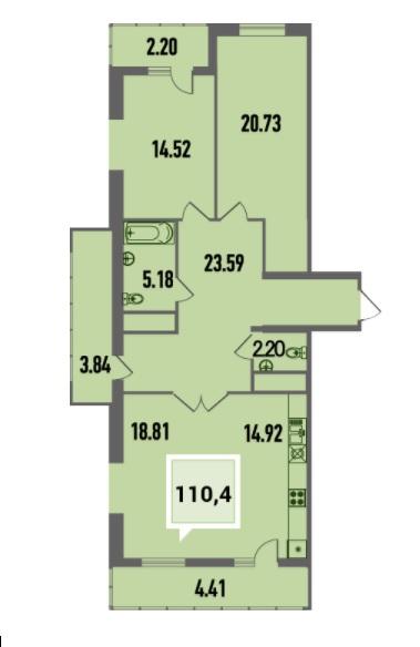 Купить двухкомнатную квартиру в Краснодаре, 110,4 м², ЖК «Тургенев»